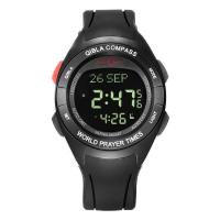 China Muslim prayer watch azan  digital plastic rubber wriste watch colourful with qibla compass taqweem have many language on sale