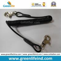 Quality Retracted Black Coil Lanyard with Customized Attachments for sale