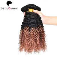 China Two Tones Ombre Remy Hair Extensions ,  Curly Human Hair Weaving For Black Women on sale
