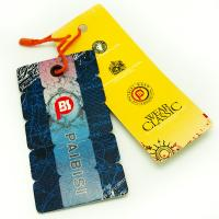 Quality Bright Color Custom Shaped Clothing Hang Tags , Product Swing Tags For Jeans for sale