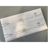China Flat 25cm Waterproof Wall Panels Wooden Pattern With Double Silver Lines on sale