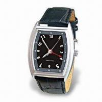 Quartz Vibrating Alarm Watch with Durable Leather Watchband and Adjustable Time Setting