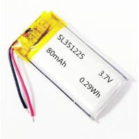 Quality UL1642 approved 351225 3.7V 80mAh lithium polymer battery with PCM and wires for sale