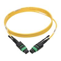 Quality 12 fiber pulling type female MPO MTP Single Mode APC Fiber Patch Cables for QSFP 40 / 100 Gb for sale