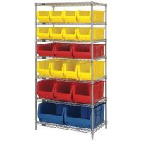 Quality Dry / Wet Environment Metal Wire Shelving With 20 Plastic Bins Silver Rack for sale
