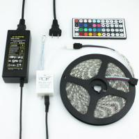 Quality Full kits SMD 5050 RGB LED Strip Light waterproof + 64keys remote controller + power supply with EU/AU/UK/US/SW plug for sale