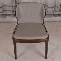 Best PU Leather Dark Grey Restaurant Furniture Modern Dining Chair with Solid Wood Leg wholesale