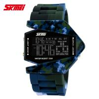 Quality Colorful Camouflage Digital Wrist Watch PU Resin Band , Plane Style for sale