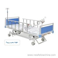 Quality Manual Three Crank Medical Hospital Beds With Foldaway Aluminum Alloy Guardrail , Center Control Brake for sale