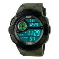 Quality cheap plastic watches SKMEI 1027 army alarm sport digital wrist watches for men for sale