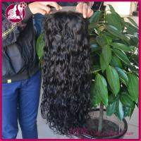 China Long Side Full Lace Real Hair Wigs Natural Color Deep Wave , Virgin Indian Women on sale