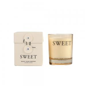 Quality Cream Colored Glass Jar Decoration Natural Fragrance Aroma Scented Candle for sale