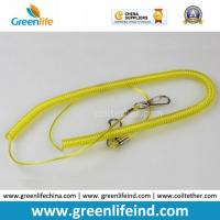 Quality Yellow Retractable Clip Elastic Plastic Coil Cord Rope Strap Lanyard for sale