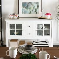 Two Drawers Modern Wooden Television Stands With Glass Doors and Open Bottom Shelf