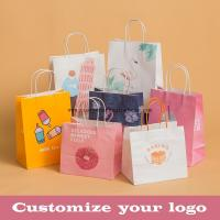 Quality Stand Up Kraft Paper Gift Wrapping Bags Custom Gravure Printing With Handle for sale