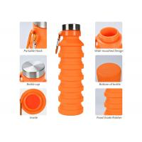 Quality Collapsible Water Bottle, Reuseable BPA Free Silicone Foldable Water Bottles for Travel Gym Camping Hiking, for sale
