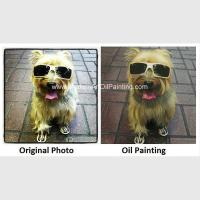 "Original Custom Oil Painting Portraits , Dog Pet Portraits From Photographs 16"" X 16"""