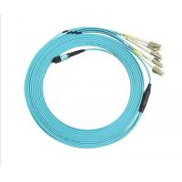 Quality 8 core MPO fiber Cable single mode PVC / LSZH MPO- LC  fan out optical fiber patch cord for sale