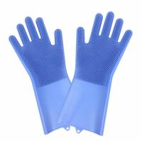 China Non-slip Design New Fancy Multifunctional Scrubber Cleaning Glove 100% Food Grade Silicone Rubber Sponge Brush with five fingers on sale