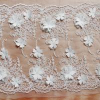 Quality Beautiful White 3D Flower Lace Fabric , Double Edge Alencon Beaded Lace Fabric for sale