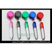 Quality Transparent round badge reel with ball pen, promotional gifts for sale