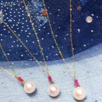 Ruby Gemstone Gold Jewelry Pendant Chain Necklace With Freshwater Pearls