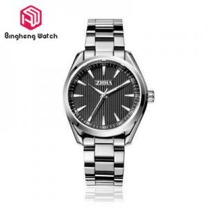 Water Resistant Mens Metal Strap Watches , Black Stainless Steel Watch Mens