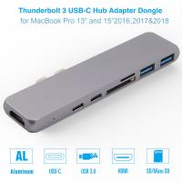 Quality Thunderbolt 3 dual usb-c hub with SD Card reader for 2016 / 2017 / 2018MacBook Pro USB-C adapter for sale