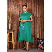 Quality Casual Life Green Embroidered Cotton Dress Chinese Style For Intdoor Eco Friendly for sale