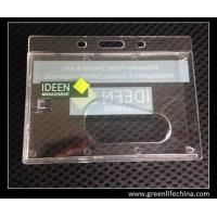 Quality Horizontal rigid tranpsarent rigid hard card holder for ID name cards with custom logo for sale
