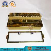 China Superior Casino VIP Club Double Layer Gold Metal Chips Tray 2 Metal Lock Gambling Chips Float 10 Rows Combination Case on sale