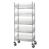 Quality Grocery Storage Movable Wire Grid Baskets Shelving Five Layers Silver Color for sale