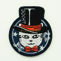 Quality Heat Press Custom Embroidered Emblems For Garment Iron On Backing for sale