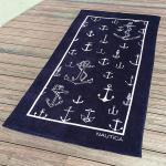 Best Dark Blue Absorbent Initial Beach Towels Fluffy Rectangular Shape wholesale