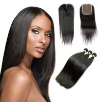 China 10A Straight Human Hair Extensions , Natural Black Unprocessed Brazilian Human Hair on sale