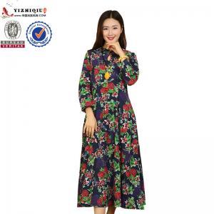 Chinese Retro Ladies Long Sleeve Dresses With Mandarin Collar Neckline