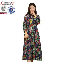 Buy Chinese Retro Ladies Long Sleeve Dresses With Mandarin Collar Neckline at wholesale prices