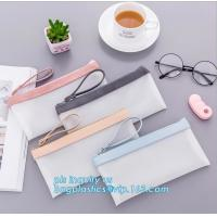 Quality clear vinyl TPU pencil case bag with zipper for boys girls, Creative contracted envelope bag translucent frosted pencil for sale