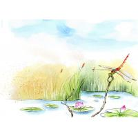 Sound Insulation Bamboo Fiber Wall Panels Dragonflies Lotus Flowers In Pond