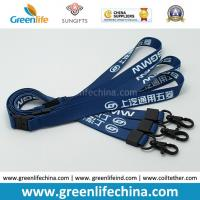 Quality Custom Logo Blue Lanyards with Custom Black Plating Metal Crimp and Snap Hook for sale