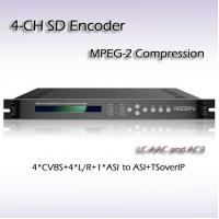 Quality Four-Channel CVBS TO IP SD MPEG-2 Encoder IPTV DTV headend for sale