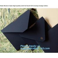 China MAKE western style high quality gold foil gift envelope Matt black card paper envelope in A4 A5 B5 C5 C6 A3 size with cu on sale