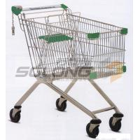 Unfolding Colored Supermarket Shopping Trolley Baskets Steel Material for sale