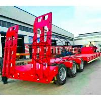 Quality 3 Axles Gooseneck Low Bed Semi Trailer For Excavator Transport 60 Ton Load for sale