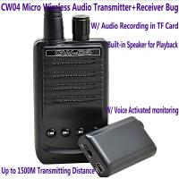 Quality CW04 Mini Wireless Remote Audio Transmitter Receiver Spy Bug W/ Voice Recording in TF Card for sale
