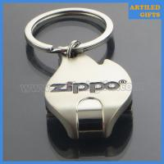Quality Zippo logo Shiny silver flame shape metal keychain bottle opener for sale
