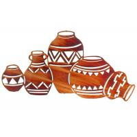 Quality Contemporary Interior Metal Wall Sculpture Natives Pottery shape Rusty Finish for sale