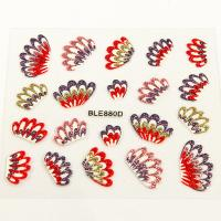 Best The Feather of peacock Nail Art Decals , Red , gold and purple glitter wholesale