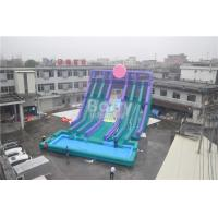 China Cool 5 Lanes Giant Inflatable Water Slide With Big Pool / Adult Inflatable Games on sale