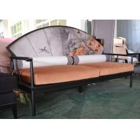 Best Artistic Wooden Frame Hotel Lobby Sofa Set / Orange Velvet Upholstered Couches Sofas wholesale